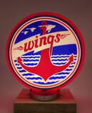 Security Oil Company Wings Red Ripple Glass Gas Pump Globe Circa 1930's