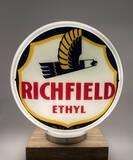Richfield Ethyl & Premium Glass Frame Gas Pump Globe