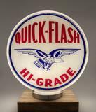 Rare Quick Flash Hi-Grade Glass Frame Gas Pump Globe Circa 1940's