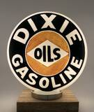Scarce Dixie Gasoline One Piece Etched Gas Pump Globe Circa 1920's