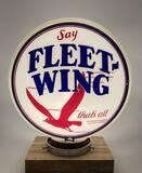 Say Fleet Wing That's All Gill Glass Frame Gas Pump Globe Circa 1930's
