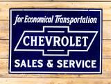 Chevrolet Bowtie Sales & Service Double Sided Porcelain Sign TAC 9.25 & 8.9