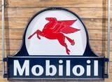 Rare 6' Mobiloil & Pegasus Logo DS Porcelain Keyhole Sign TAC 9.75