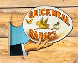 Quick Meal Ranges w/ Hand Holding Chick Diecut Double Sided Metal Flange Sign TAC 8.9