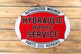Authorized Wagner Hydraulic Brake Service Double Sided Porcelain Sign TAC 8.9
