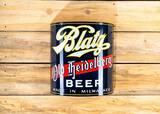 Blatz Old Heidelberg Beer Curved Single Sided Porcelain Sign TAC 9.75