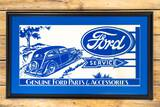 Framed Ford Service w/ Car and Logo Crate Paper Sign TAC 9.5