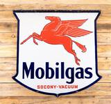 Circa 1939 Mobilgas w/ Pegasus Socony-Vacuum Double Sided Porcelain ID Sign TAC 8.9