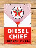 Texaco White-T Diesel Chief Single Sided Porcelain Pump Sign 9.5