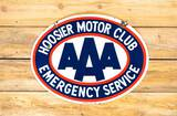Hoosier Motor Club AAA Emergency Service Double Sided Porcelain Sign TAC 9 & 8.5