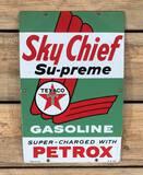 1959 Texaco White-T Sky Chief Supreme w/ Petrox SS Porcelain Pump Sign TAC 9