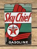 1940 Texaco White-T Sky Chief Gasoline Single Sided Porcelain Pump Plate Sign TAC 9