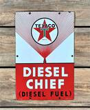 1952 Texaco White-T Diesel Chief Single Sided Porcelain Pump Sign TAC 7.5