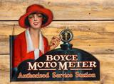 Rare Boyce Moto Meter Authorized Service Station Metal Flange Sign TAC 9+ & 8