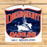 Rare Dreadnaught Gasoline Navy Specifications Double Sided Porcelain Sign TAC 8.5