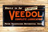 Circa 1937 Drive In For Veedol Complete Lubrication Single Sided Metal Sign TAC 8.9