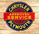 Chrysler Plymouth Approved Service Single Sided Porcelain Diecut Sign TAC 8.9