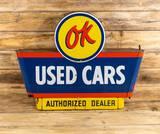 Chevrolet OK Used Car Authorized Dealer Bullnose Porcelain Sign TAC 9.25
