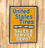 United States Tires Sales & Service Depot Single Sided Wood Framed Metal Sign TAC 8.5