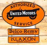 United Motors Authorized Service Delco-Remy Klaxon Double Sided Porcelain Sign TAC 9