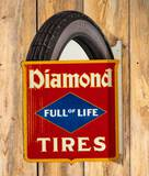 Diamond Full of Life Tires Diecut Metal Flange Sign TAC 7.9