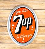 Circa 1950 You Like 7up It Likes You Single Sided Tin SST Embossed Metal Sign TAC 9.75