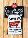 Swift's Red Steer Brand Fertilizers w/ Logo Double Sided Porcelain Flange Sign TAC 8.9