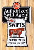 Swift's Red Steer Brand Fertilizers w/ Logo & Red Tag Double Sided Porcelain Flange Sign TAC 9.25
