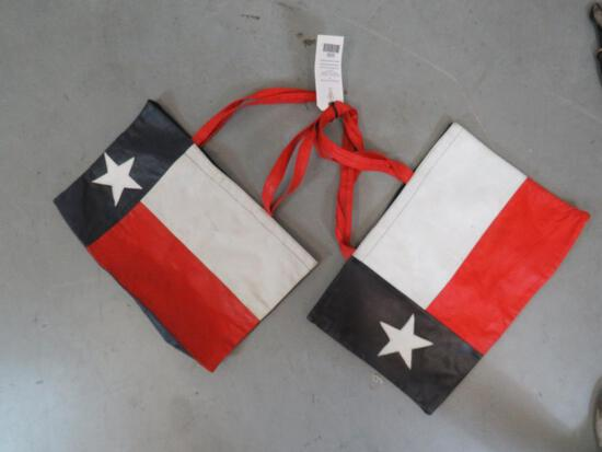 LOT OF LEATHER TX FLAG TOTES