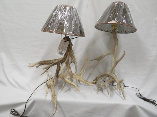 2 ANTLER LAMPS W/SHADES (2x$)