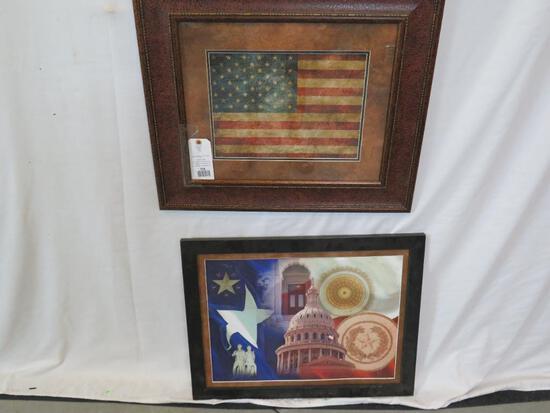 FRAMED TX FLAG & FRAMED PIC OF THE CAPITOL