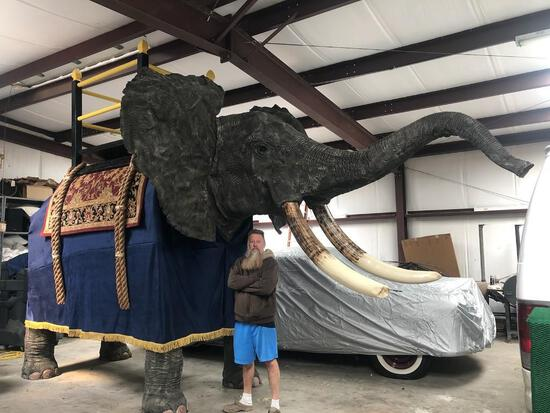 LIFESIZE ELEPHANT W/REAL SKIN & REPRODUCTION FEET AND TUSK (US RES ONLY)