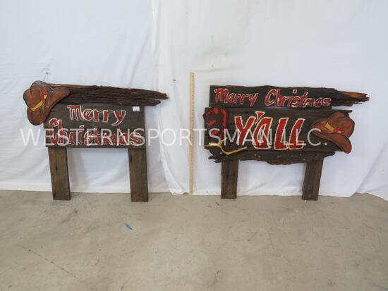 2 HAND PAINTED WOODEN MERRY CHRISTMAS SIGNS (2x$)