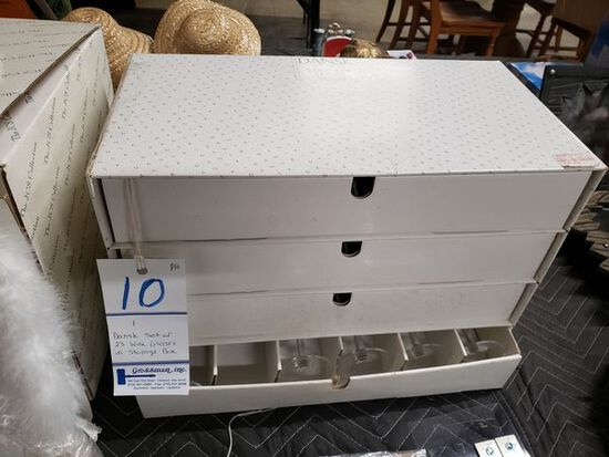 DANSK SET OF 23 WINE GLASSES IN STORAGE BOX