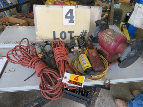 """6"""" Bench Grinder, (3) Drop Cords, Outlet Tester"""