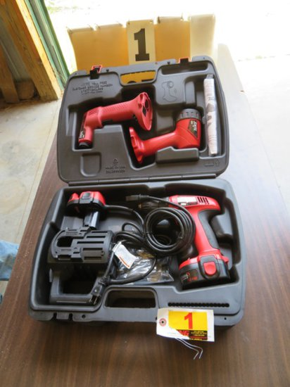 Skil Cordless Air Gun, 12-Volt Light, Drill with (2) Batteries, Charger & P