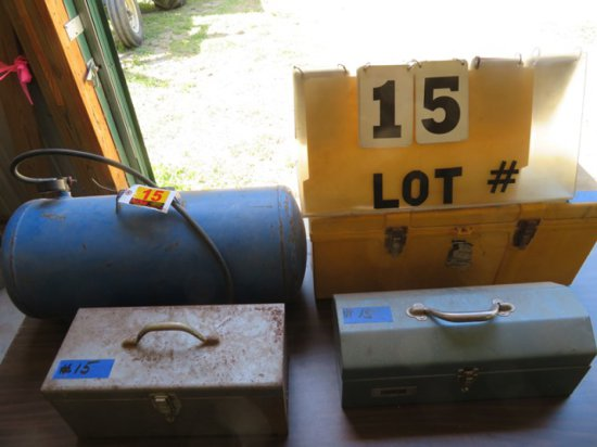 (3) Empty Tool Boxes & Portable Air Tank