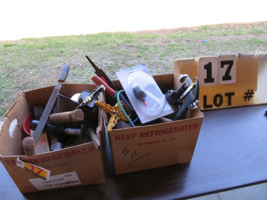 (2) Boxes of Automotive Tools, Spray Gun, Hammer, Funnels