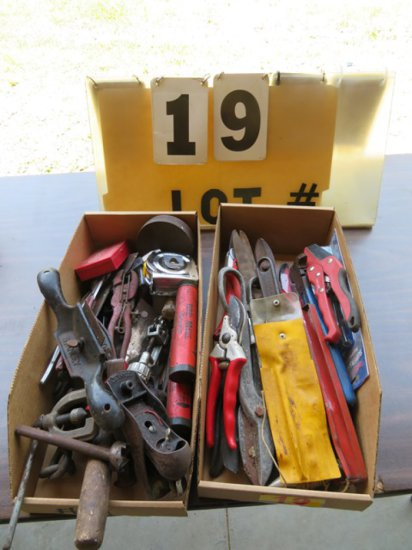 (2) Boxes of Misc. Tools with Cutters, Spoke Shave, etc.