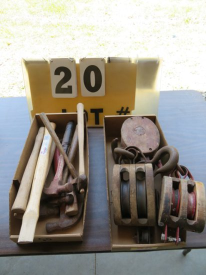 (2) Boxes of Wood Pullys for Block & Tackle, Hammers, Hammer Handles