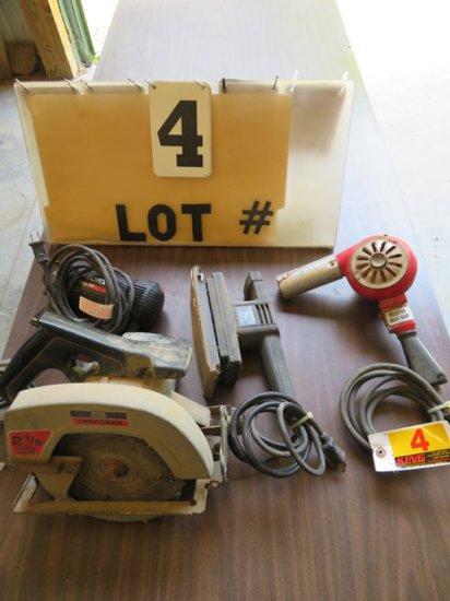 """7 1/4"""" Craftsman Circular Saw, Black & Decker 1/3 Sheet Sander, Rotozip Spi"""