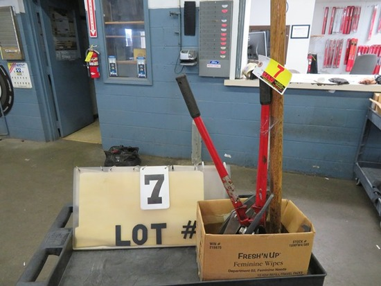 Box w/(5) Jaw Pullers, Bolt Cutter and Sledge Hammer
