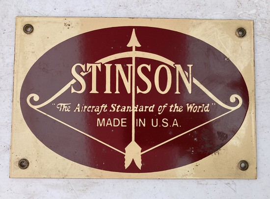 Stinson Aircraft Porcelain Sign