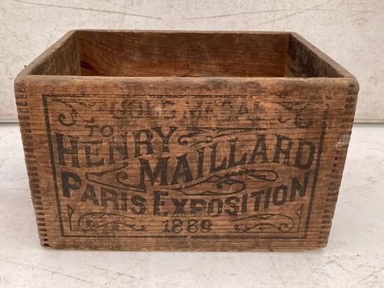 Henry Maillard Gold Medal Paris Exposition 1889 Wooden Box