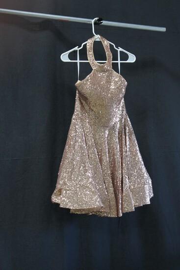 Alyce Champagne Sequin Halter Mini Dress Size: 6