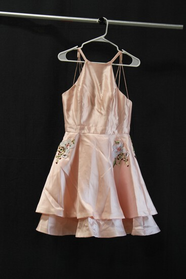 Alyce Pink Satin Embroidered Mini Dress With Pockets Size: 6
