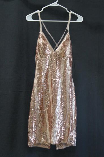 Faviana Rose Gold Sequin Mini Dress Size: 6