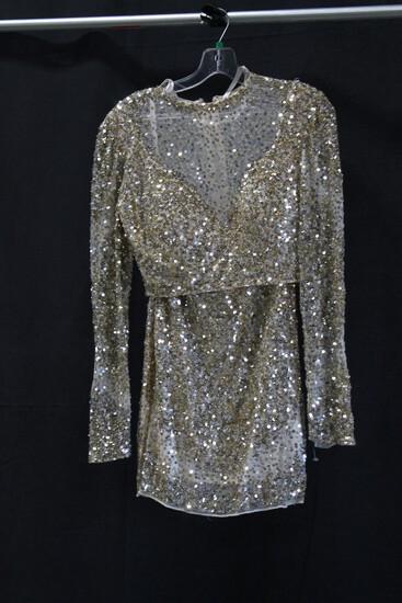 Macduggal 2 Piece Gold Sequin Mini Dress Size: 6