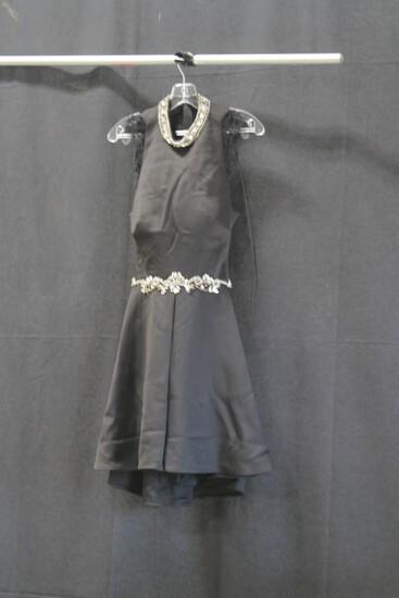 Alyce Black Open Back Jeweled Mini Dress Size: 6