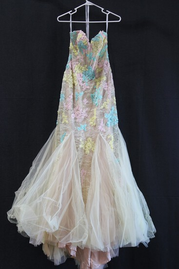 Macduggal Yellow Strapless Tulle And Sequin Gown Size: 6